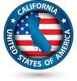 California state blue label with state map vector image vector image
