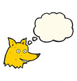 cartoon fox head with thought bubble vector image vector image