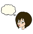 cartoon pretty female face pouting with thought vector image vector image