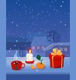 cozy christmas home window vector image