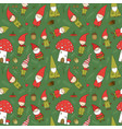 cute cartoon gnomes new year s pattern christmas vector image vector image