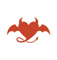 devil heart logo with wings and horns vector image vector image