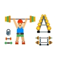 Fitness gym club icons vector image