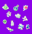 flat space icons stickers set vector image vector image