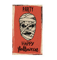 flyer template halloween party evil mummy on vector image