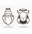 good and bad god and devil cartoon graphic vector image