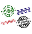 grunge textured try again later stamp seals vector image vector image