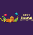 happy baisakhi drums concept banner cartoon style vector image vector image