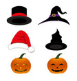 hat holiday set vector image vector image