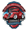 hot rods and classic cars garage vintage sign vector image