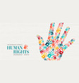 human rights card of colorful people hand prints vector image vector image