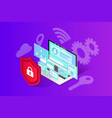 isometric internet security banner vector image vector image