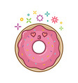 kawaii smiling donut cartoon vector image