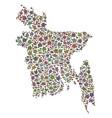 mosaic map of bangladesh of stones vector image