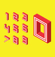 numbers red block style on yellow background vector image