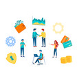 office teamwork handshake businessmen vector image