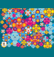 pattern animal and flower vector image vector image