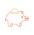 pig piggy bank and coin linear style financial vector image
