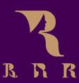 r letter based symbol woman shape in negative vector image