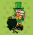 saint patricks elf cartoon card vector image