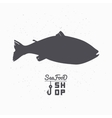 Salmon fish silhouette Seafood shop branding vector image