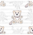 seamless pattern with cute hand drawn teddy bear vector image vector image