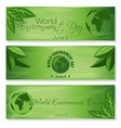 set green banners for world environment day vector image vector image