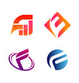 set initial letter fw and f symbol vector image vector image