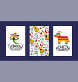 set mexican cards with traditional decoration to vector image vector image