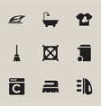 set of 9 editable dry-cleaning icons includes vector image vector image