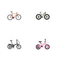 set of bike realistic symbols with fitness wheel vector image