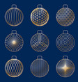 set of linear graphic stylized golden christmas vector image vector image