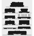 Set of train with freight wagons vector image vector image