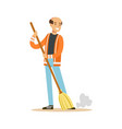 smiling mature street sweeper at work street vector image