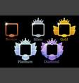 square frames game rank gold silver platinum vector image