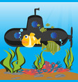 submarine at the depth ocean vector image vector image