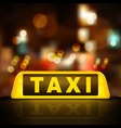 taxi sign on car roof vector image vector image