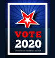 vote 2020 in usa background with star vector image