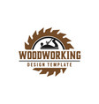 woodworking gear logo design template element vector image