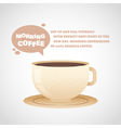 Flat coffee cup in cartoon style isolated postcard vector image