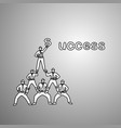 businessmen do a pyramid of acrobats to complete vector image