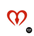 letter m heart style logo