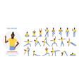 african american black yoga teacher poses set vector image vector image