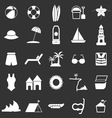 Beach icons on black background vector image vector image