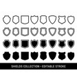black and white shields vector image vector image