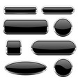 black glass 3d buttons with chrome frame set of vector image vector image