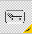 black line sunbed icon isolated on transparent vector image vector image