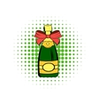 Bottle of champagne comics icon vector image vector image