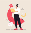 business concept flat style outline vector image