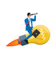 businessman flying on big idea bulb formed rocket vector image